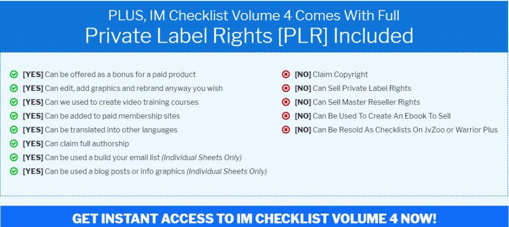 IM Checklist 4 Affiliate Marketing PLR rights